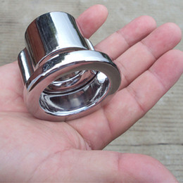 Wholesale Scrotum Stainless Steel Rings - Heavy New Stainless Steel Scrotum Weight Pendant, Penis Restraint Locking Ring Cock Ring Cock Cage Chastity Belt Chastity Cage,Sex Toy,B68