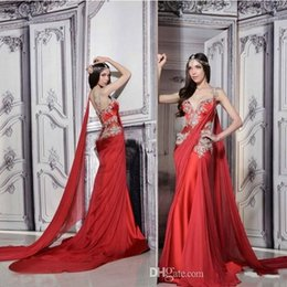 Wholesale Indian Chiffon Evening Gowns - Gorgeous Indian Dresses Long Formal Red Evening Gowns Sheer Straps Court Train Ruched Chiffon Lace Appliques Prom Dress with Ribbon 727