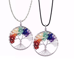 Wholesale Stainless Steel Charms Pendants - 12pc set Tree of life necklace 7 chakra stone beads natural amethyst sterling-silver-jewelry chain choker necklace pendant for woman gift