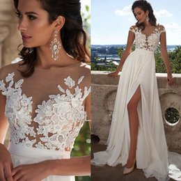 Wholesale Aline Gowns - Fashion Elegant Lace Long Beach Wedding Dresses 2017 New Arrivals Sexy Sheer Neck Thigh-High Slits Aline Sleeveless Bridal Gowns Cheap