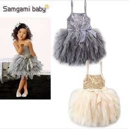 Wholesale Star Baby Dress - Kids Girls Sequin Bowknot Suspender Dress Summer High Quality Ruffles Lace Wedding Party Dress Puff Dress Star Baby 2017New 0-10 Years Q0916