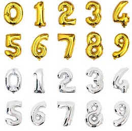 Wholesale Single Digit - 32inch Gold Silver Number Foil Balloons Digit air Ballons Happy Birthday Wedding Decoration Letter balloon Event Party Supplies