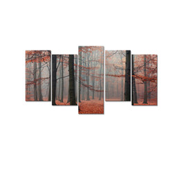 Wholesale Framed Office Wall Art - Red Forest Photo Canvas Wall Art Tall Tree Canvas Printing for Living Room and Office Decor No Frame Canvas Art 5-Panel