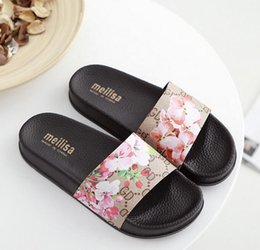 Wholesale Mop Flowers - flip flops flats FLOWER PRINTED ladies shoes BEACH black sandals