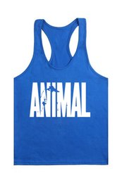 Wholesale Clothes Printing Equipment - Wholesale- 2016 New Printing Letter Animal Stringer Tank Top Men Bodybuilding Equipment Clothing and Fitness Shirt Vest Singlets Muscle Top