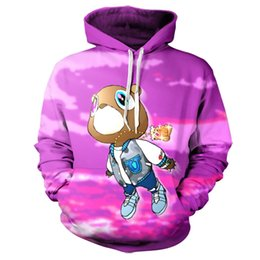 Wholesale Oem Hoodies - Wholesale- Real American size Kayne West Purple Bear 3D Sublimation Print OEM Hoody Hoodie Custom made Clothing plus size