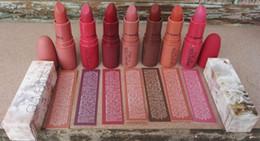Wholesale Wholesale Brand Name Lipsticks - Free Shipping New Matte Lipstick Brand Makeup 10Colors With English Name 3g 10pcs lot