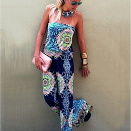 Wholesale Chinese Jumpsuits - Wholesale- 2017 Folk Style Print Long Jumpsuits For Women Sexy Chinese Traditional Clothing Casual Woman Bohemian Summer Jumpsuit Overalls