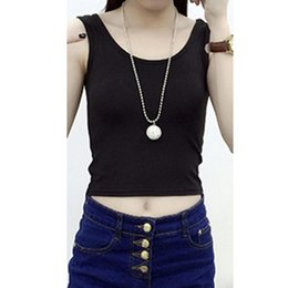 Wholesale Lolita Tube - Summer Short Top Fitness Women Sleeveless Cotton Girl Tank Tops Crop Tops Femme Vest Tube Top