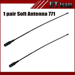Wholesale Sma Walkie Talkie Antenna - Wholesale- New 1 pair antenna 771 for walkie talkie antenna Dual Wide Band VHF UHF SMA-F Female Soft Antenna 771 For baofeng UV-5R Radio