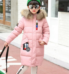 Wholesale Girls Real Fur Jackets - 2017 NEW SCHOOL GIRLS 80% WHITE DUCK DOWN PARKA JACKET COAT REAL FUR HOODED CLOTHING AGE 4-13