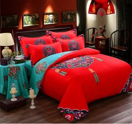 Wholesale Dragon Bedding Sets - RED WEDDING Round bed bedding set BEIJIN opera chinese style cotton EMBROIDERY dragon DUVET COVER luxury special marry home gift freeshiping