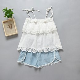 Wholesale Denim Suspenders - Baby girls outfits children hollow out embroidery lace bow suspender tops + lace denim shorts 2pcs sets 2017 summer new kids clothes T2122
