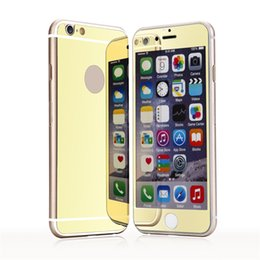 Wholesale Iphone Mirror Front Back - Tempered Glass Screen Protector For iPhone 6 7 plus Plating Mirror colorful front and back Glass Film