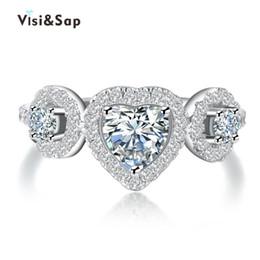 Wholesale Love Finger Rings - Visisap White Gold color Heart love Rings For Women cubic vintage ring Wedding finger bague fashion Jewelry VSR180