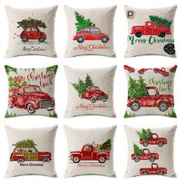 Sottili alberi di natale online-Buon natale Cuscino Car Driving Christmas Tree copertura del cuscino 45X45cm Beige Federe per cuscini Thin Linen Cotton Bedroom Sofa Decoration