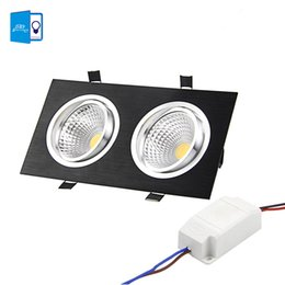Wholesale Black Led Downlight - Wholesale- [DBF]Super Bright Recessed LED Dimmable 2 head Square Downlight COB 10W 14W 18W 24w LED Spot light Black Ceiling Down light