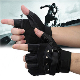 Wholesale Woman Biker Leather Gloves - Wholesale- 2016 New Hot 1 Pair Unisex Women Men Soft Sheep Leather Driving Motorcycle Biker Fingerless Warm Gloves Free Shipping&Wholesale