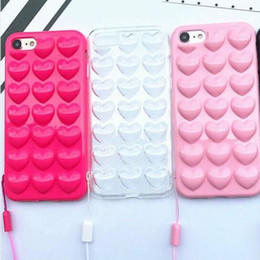 Wholesale 3d Iphone Skins - Luxury 3D Love Heart Candy Peach Soft TPU Case For iPhone 6 6S 7 4.7 Plus 5.5 Fashion Korean Style Cover Cases 3D Silicone Anti-knock Skin