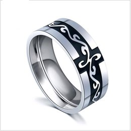 Wholesale Titanium Jewellery Wholesale - Mix size 6-12 Chinese Dragon Lines Titanium Steel Retro Finger Rings for Men Fashion Trendy Jewellery Wholesale