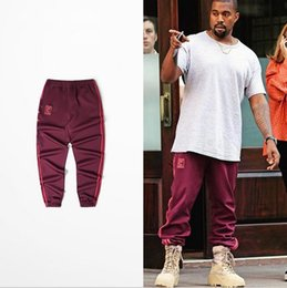 Wholesale High Fashion Pants For Women - High Quality Kanye West Season 4 Red Jogger Pant Man Woman Elastic Waist For Dace Sport Running