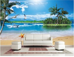 Wholesale photo static - 3d room wallpaper custom photo Seaside coconut seagull beach scenery decor painting 3d wall murals wall paper for walls 3 d living room