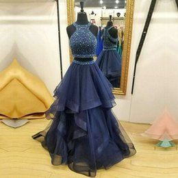 Wholesale Tulle Skirted Cocktail Dress - nave Blue Two Pieces Prom Dresses Major Beading Top Sequins A Line Tulle Skirts Cocktail Party Dress Layers Zipper Girls Homecoming Dress