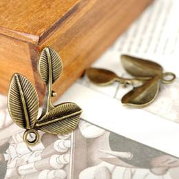 Wholesale Leaf Necklace Bronze - Wholesale 27*23mm 3pcs leaf branch Charms Antique Bronze Silver Making pendant fit Vintage Silver DIY bracelet necklace