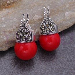 Wholesale Vintage Red Bead Earrings - Natural Stone AAA Fancy lady's whosale Round Red Agate Bead Vintage 925 Silver Hooks Earrings