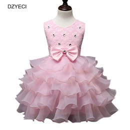 Wholesale Small Ball Gown - Elegant Dresses For Baby Girl Prom Costume Carnaval Summer Kid Bow Ball Gown Princess Frock Children Ceremony Bridesmaid Small Beauty