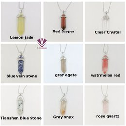 Wholesale Citrine Amethyst Jewelry - Natural stone jewelry fashion accessories rose quartz amethyst turquoise opal black onyx pendant necklace malachite green eastern edge