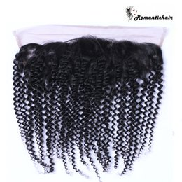 Wholesale Malaysian Hair Tied Weft - Great Kinky Curly Lace Frontal Closure 13x4 Brazilian Hair Hand Tied Swiss Lace 8A Unprocessed Lace Frontal Closure Bundles Natural Black
