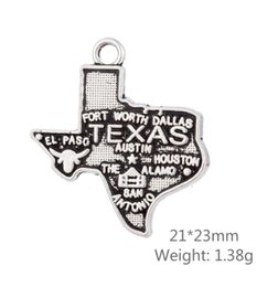 Wholesale beads 23mm - New Design Texas America State Map Charm Antique Pendant DIY Jewelry Accessories 30Pcs 21*23mm