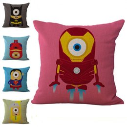 Wholesale batman cover - American Heroes Superman Iron Man Batman Spiderman Pillow Case Cushion Cover Linen Cotton Throw Pillowcases Sofa Cars Pillowcover PW553