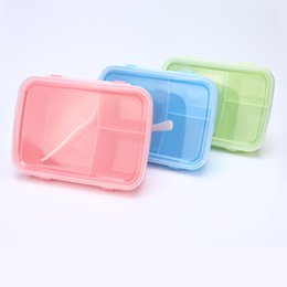Wholesale Storage Containers Compartments - Rectangle Crisper 3 Color 3-Compartment Portable Bento Microwave Lunch Box Picnic Container Storage+Spoon Food Grade PP 100% BPA Free