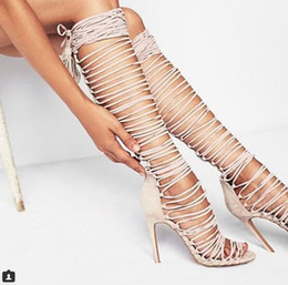Wholesale lace cutout boots - Hottest Sale long sandal Boots summer Strappy Cutouts High Heels Women Sandals Gladiator Shoes Woman Lace Up Tassels Boots