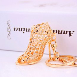 Wholesale Women High Heel Shoe Wholesaler - shoe keychain Women High Heeled Key chains ring Purse Pendant Bags Cars Shoe Ring Holder Chains Key Rings For Women Gifts