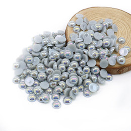 Wholesale Crafts Embellishments - All Size Lt.silver Grey AB Color Half Round Flat Back ABS Pearls Scrapbook Embellishments DIY Craft