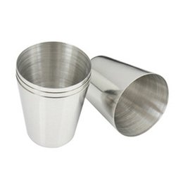 Wholesale Polished Hip Flask - Wholesale- Outdoor Camping Hiking Polished Stainless Steel Whiskey Liquor Cup for Hip Flask