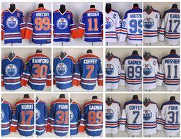 Wholesale Coffey Jersey - Throwback Edmonton Oilers Hockey Jerseys Sam Gagner 7 Paul Coffey 17 Jari Kurri 31 Grant Fuhr 11 Mark Messier 30 Bill Ranford Vintage Jersey