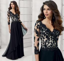 Wholesale Cheap Satin Long Skirt - Black Dress For Prom Gown Cheap Price Custom Long Sleeve Iullsion V Neck Zipper Back FLoor Length Tiered Skirt Applique Sequin Beading