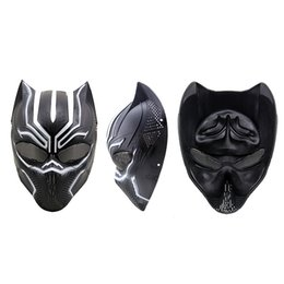 Wholesale Helmets For Halloween - black panther masks movie fantastic four cosplay men's latex party mask civil war cosplay black panther mask helmet mask party Halloween