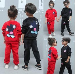 Wholesale Cute Red Black Outfits - 2016 Kids Velet Warm Winter Clothing Set Minnie Design Thick Material 2Pcs Outfits Long Sleeve Children Hoodeis + Pant Clothing E0024