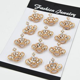 Wholesale Collar Pin Wholesale China - fashion gold plated stunning diamante small crown cross brooch women popular collar pins brooches hot selling lady jewelry pin