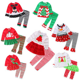 Wholesale Wedding Baby Boy Clothes - Wholesale- Christmas Birthday Outfits For Baby Girl Boutique Set Clothes Bow TUTU T Shirt Top+Ruffle Pant 2PC Suit Wedding Tracksuit Kit