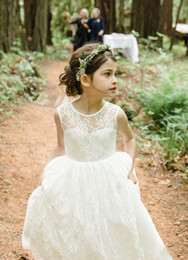 Wholesale Dreses Kids - Ivory Full Lace Flower Girls Dreses For Wedding Little Girls Formal Party Communion Gowns 2017 New Kids Bridal Wear
