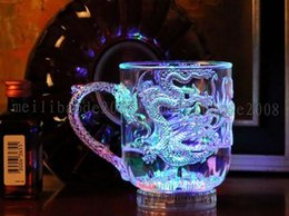 Wholesale Light Bars China - NEW LED Light Luminescence Glass Wine Into The Water Bright Beer Mug Luminous Cup Colorful Bar Cups The Dragon Mugs Individual MYY