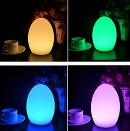 Wholesale Rechargeable Bar Table Lamp - Wholesale- Free Shipping Colorful LED Egg bar table lamp Break-resistant, rechargeable LED glowing lighted egg night light for Christmas