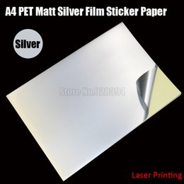 Wholesale Matt Film - Wholesale- 2016 30pcs A4 PET Matt Silver Film Sticker Paper Self Adhesive Glossy Waterproof Fit Laser Printer