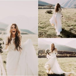 Wholesale Long Flowing Dresses Sexy - Bohemian Country Wedding Dresses Long Sleeves Jewel Neck A Line Boho Wedding Gowns with Lace Applique Flow Chiffon Bridal Dresses 2017
